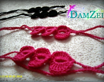Barefoot Sandal, Crocheted Heart Anklet, Hot Pink Barefoot Sandal, Lace Barefoot Sandal, Barefoot Anklet, Foot Jewelry