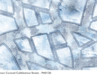 Gaming Mat Snow Covered Cobblestone Streets / Wargames Terrain Mat / Perfect For Warhammer & Miniatures Tabletop Gaming (PM0130)