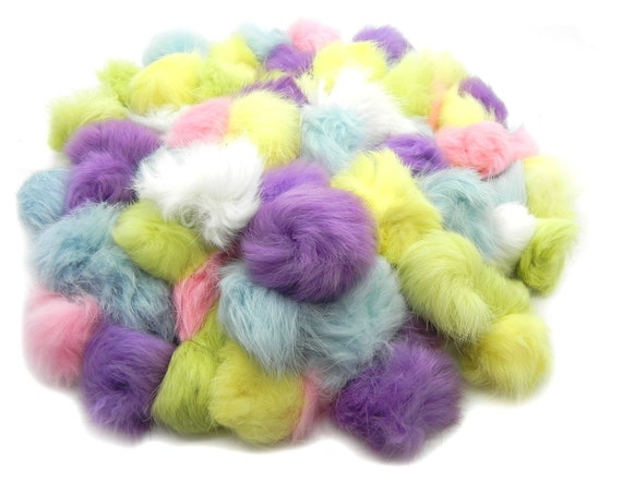 Craft rabbit fur pom pom balls 100 pack pastel colors for Furry craft