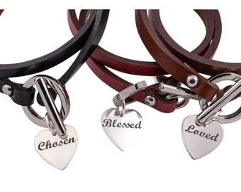 Leather Scripture Bracelet with Sterling Silver Heart Charm