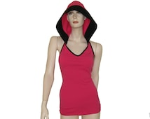 """Hooded top """"BareShoulders"""", tank top with hood, backless halter sport top, camisole."""