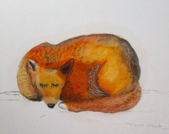 Sleeping Fox Nursery Print