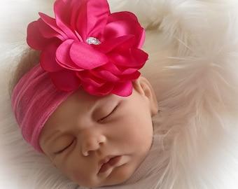 Baby Headband, Baby Girl Flower Headband, Soft Baby Headband, Baby Photo Prop