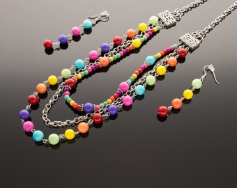 Multi layered girls Necklace with Pink, Purple, Orange, Red, Light Blue, Light Green and Yellow Beads, Girls Necklace, Jewelry Set