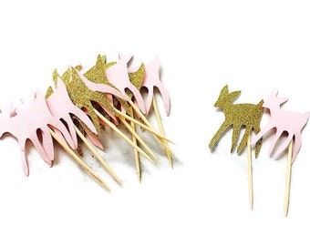 Cupcake picks, gold and pink bambi deer cupcake toppers, baby shower, first birthday, 1st birthday, animal cupcake toppers