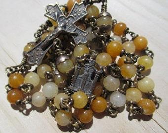 Rosary No. 32 - Yellow Jade in Bronze