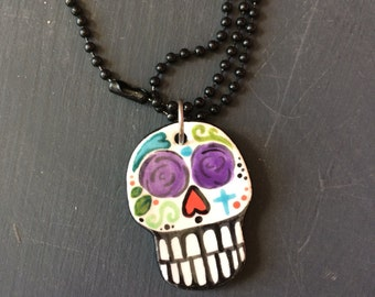 Sugar Skull, Sugar Skull Necklace, Day of the Dead, Ceramic, Hand Painted, Purple, Rose Eyes, Halloween Jewelry