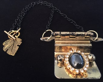 Upcycled Hinge Necklace with Black Stone Brooch