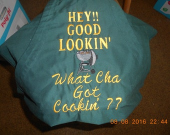 Embroidered Apron - Forest Green - Hey Good Lookin' What Cha Got  Cookin'?? Free Shipping in USA