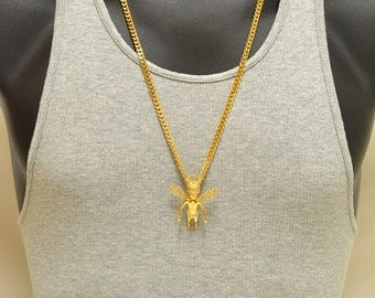 Iced Out Men's 24K Gold Plated Crowned King Angel CZ Charm Pendant Miami Cuban Chain Necklace, Rappers, Celebrities, Original, Free Styles