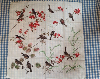 Beautiful birds in bushes silk scarf