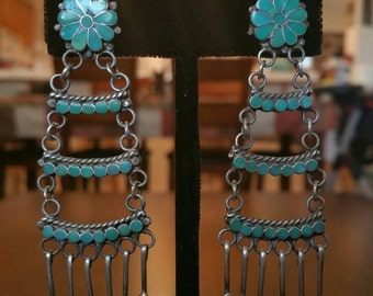 Zuni Channel Inlay Turquoise and Silver Ladder Earrings