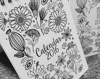 SALE Only Three Left! Handprinted 2016 Letterpress Calendar, Desk Calendar, Wildflower Calendar, Coloring Book Calendar, Letterpress Calenda