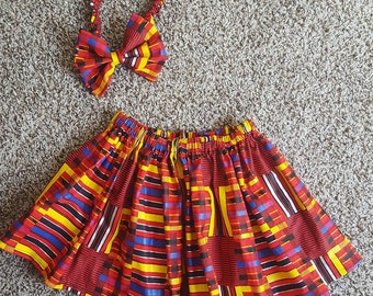 kente inspired Girls Skirt