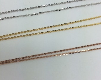 14K Diamond Cut Cable Chain in Rose Gold or White Gold or Yellow Gold