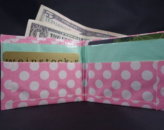 Pastel Duct Tape Wallet - Pink Polka Dot and Mint Green