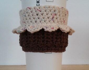 Cupcake Coffee Cup Cozy / Tea Cup Cozy - Handmade Crochet Tumbler Cup Sleeve - Cupcake Travel Mug Cozy