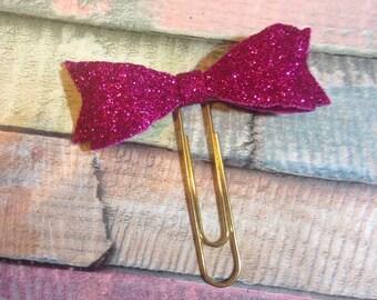 Hot Pink Glitter Foam Bow Paperclip