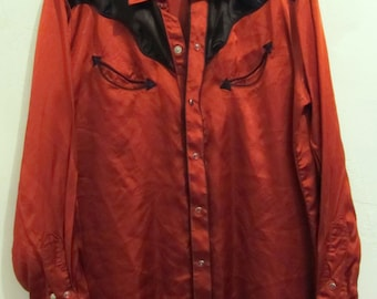 Marked Down 30%@@A Men's Vintage 60s,Long Sleeve Red SaTIN KENNY ROGERS Western Shirt By KaRMAN.L