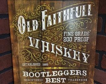 Old Faithful Whiskey Tin Sign