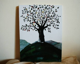 Family Tree Scenery and Landscape—Acrylic Painting,  50% Charity!