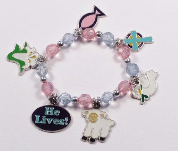 Inspirational Charm Bracelets: 1 Easter Inspirational Beaded Charm Bracelet Craft Kit