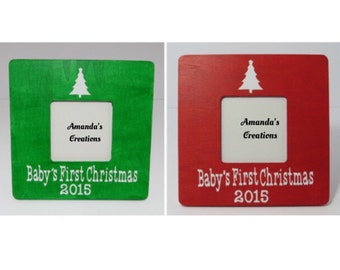 Baby's First Christmas Picture Frame, Christmas Frame, Baby's Christmas Frame, Red christmas frame, green christmas frame, christmas frame