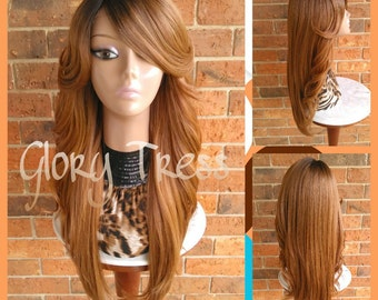 ON SALE //  Long Curly Feathered Flip Lace Front Wig, Ombre Blonde Wig,  Side Swoop Bangs // FIRE (Free Shipping)