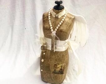 Altered Dress form, Vintage dress form, french dress form,mix media dress form,Paris decor,  angel wing decor,shabby chic decor, mannequin