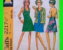 "60s Halter DRESS & Jacket, Size 11, Bust 34"", McCalls 2217."