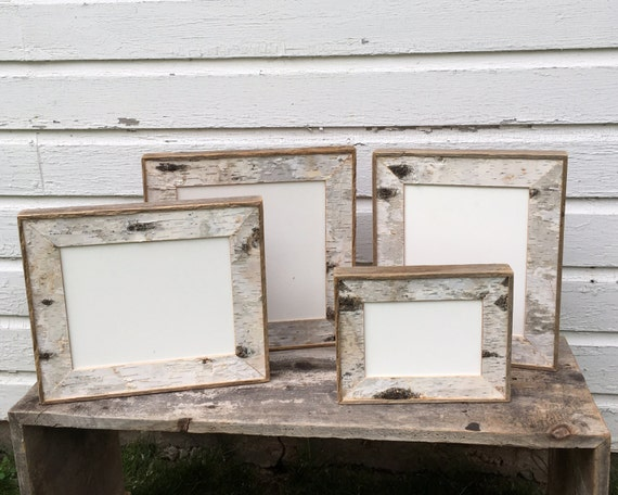 Birch bark picture frame natural