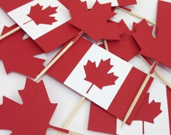 1 dozen Canada Day Cupcake Toppers, Canadian Flag, July 1st, OH Canada, Maple Leaf, Holiday Decor, Celebrate Canada , 150th birthday