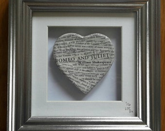 William Shakespeare's Romeo & Juliet Handcrafted Heart in a Frame - Valentine's Day - Literary Gift