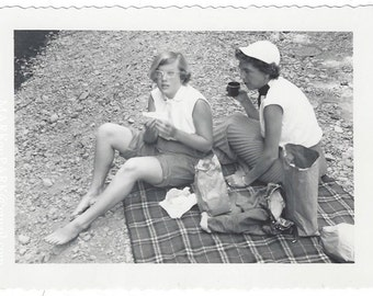 Mother and Daughter Picnic Lunch, 1960s (est), Vintage Photograph