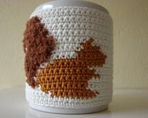 Crochet pattern mug cozy squirrel | chipmunk pattern | cup cozy animal | pattern coffee cozy | pattern crochet sleeve cozy | animal pattern