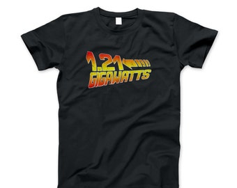 Back To The Future Shirt Vintage T New 1.21 Gigawatts Hill Valley High Movie 80's Doc Brown Adult Tee