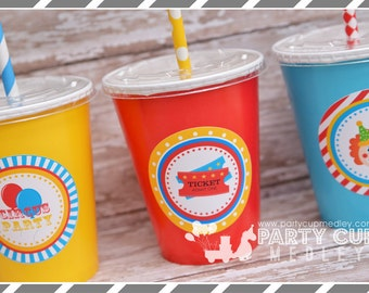 Set of 8 or 10-Circus Birthday Party Cups, Lids & Straws, Favor Cups