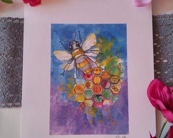 Limited edition Honey Bee watercolour and ink print.