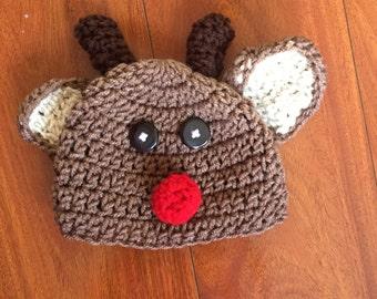 Crochet Baby Rudolph Hat