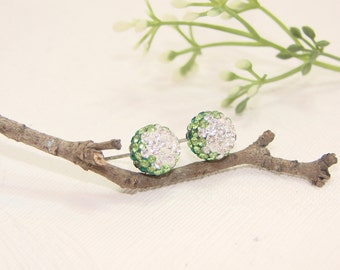 Green Swarovski Crystal ball sterling silver stud earrings, Wedding Bridal, Bridesmaid,Jewelry,gift, under25