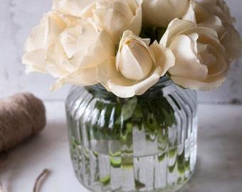 Ribbed Glass Vase Set of 2 | Clear Glass Flower Vase | Glass Votive Wedding Vase | Wedding Table Centerpieces | Christmas Table Vase