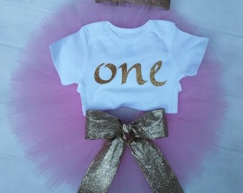 Pink and gold tutu outfit, pink and gold first birthday outfit, smashcake outfit