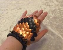 Orange and black stripe scale maille bracelet
