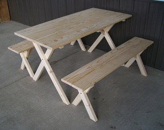 Pine Economy 5 Foot Picnic Table with 2 Detached Cross Leg Benches - *UNFINISHED* - Handcrafted - Amish made in the USA