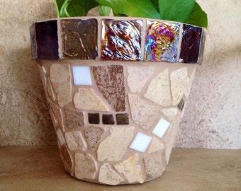 Rustic mosaic planter, large flower pot, indoor herb planter, outdoor garden pot, kitchen planter, handmade terracotta pot, deck container