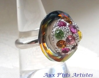 """ring """"cosmic ring"""" in Swarovski crystal and epoxy clay"""