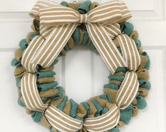 Cottage Chic Burlap Wreath, Country Blue Burlap Wreath, Year Round Wreath