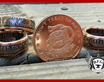 Don't Tread On Me, The Price Of Liberty Handcrafted 1oz Copper Coin Ring