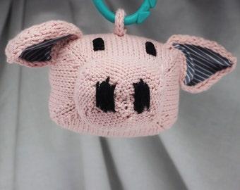 Pig Rattle   Handknit   Cotton