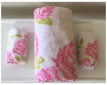 Vintage Floral Martex Towel Set - Retro Floral Bathroom Towels - Martex Hand Towels - Martex Bath Towel
